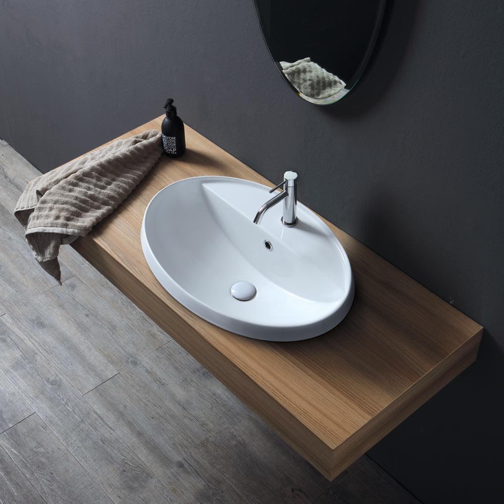 Lavabo da incasso 4 cm Softly 63 rubinetto